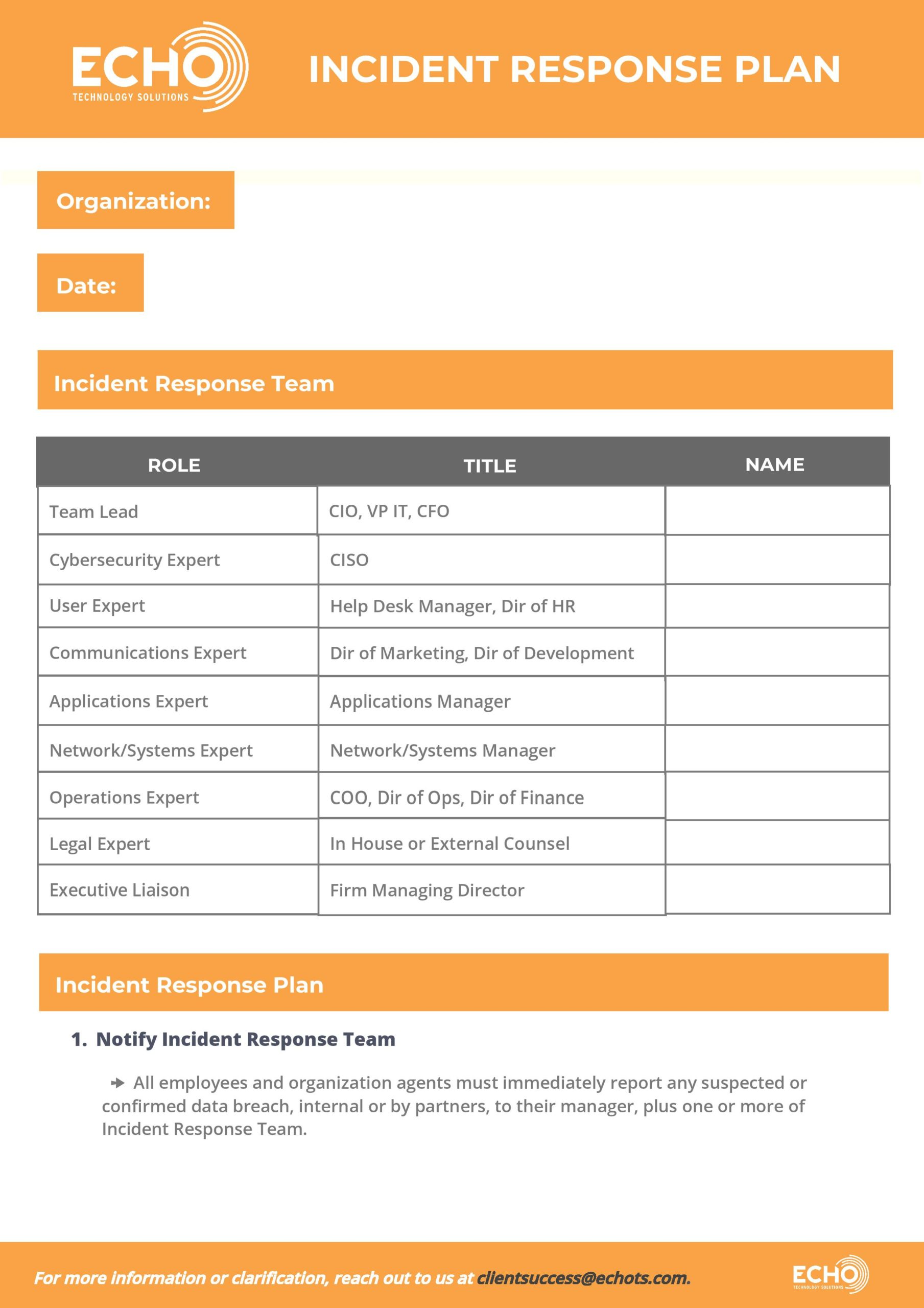 Cybersecurity Incident Response Plan Template Echo Technology Solutions